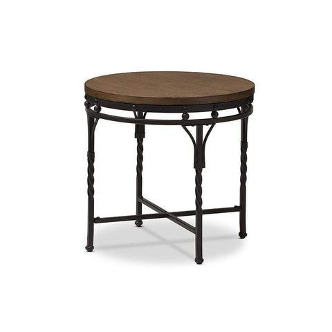 Baxton Studio Austin Vintage Industrial Antique Bronze Round End Table - YLX-2687-ET-Coffee, Accent Tables-Floor Mirror Gallery