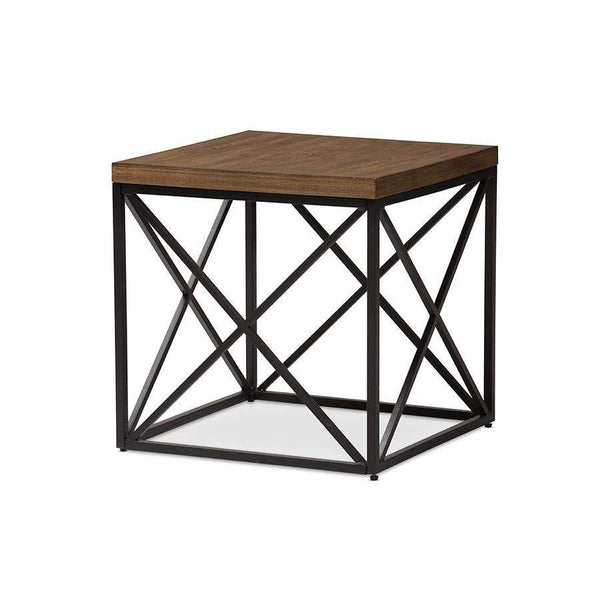 Baxton Studio Holden Vintage Industrial Antique Bronze End Table - YLX-2692-ET-Coffee, Accent Tables-Floor Mirror Gallery