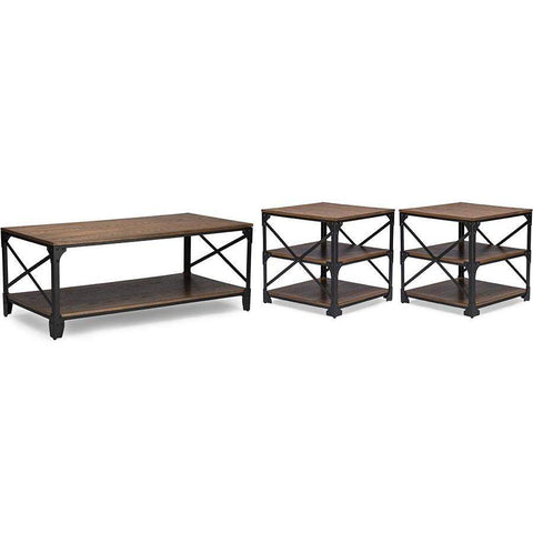 Baxton Studio Greyson Vintage Industrial Antique Bronze Coffee Cocktail Table and End Tables 3-Piece Occasional Table Set - YLX-2694 3PC Table Set-Coffee, Accent Tables-Floor Mirror Gallery