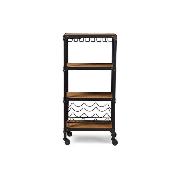Baxton Studio Swanson Rustic Industrial Style Antique Black Textured Finish Metal Distressed Wood Mobile Kitchen Bar Wine Storage Shelf - YLX-9033-Wine Cabinets-Floor Mirror Gallery