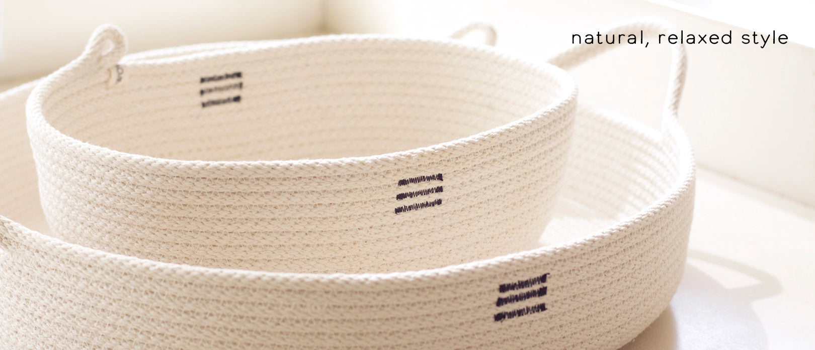 Handmade Woven Grey cotton rope storage baskets for kitchen, bathroom or home. No plastic storage. Beautiful craftsmanship with natural, rustic look let you experience the costal-living style at home. Bread baskets catch-all baskets and planter baskets.