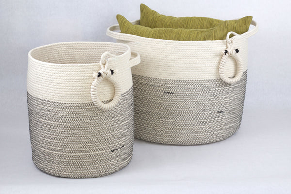 Large 15 Inch Modern Structured Woven Floor Basket With Handles to organize Home and Office