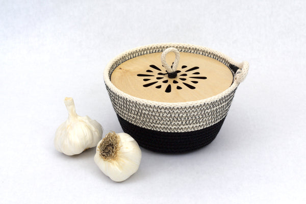 Woven Modern Kitchen Garlic Bowl / Tortilla Basket with Wooden Top - American made