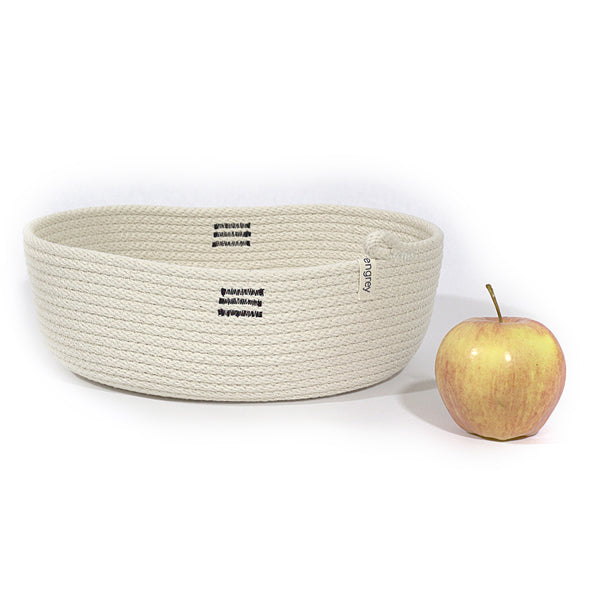 Organic Shaped 11 Inch Wide Oval Table Basket woven with elegant black and white stripes
