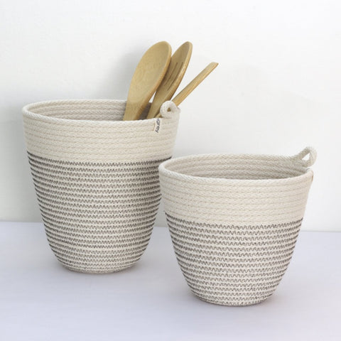 Unusual Handmade Rustic Modern Woven Office and Kitchen Organizing Vessels in Several Sizes