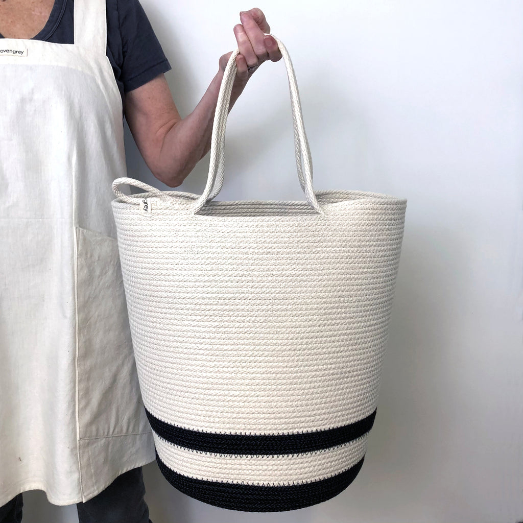 Large laundry basket. Cotton floor basket for kids toys. Handmade rope basket