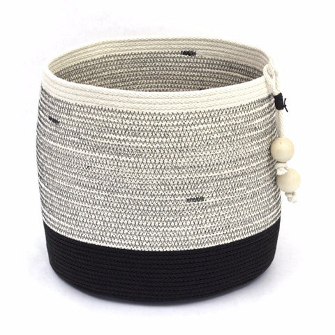 Structured 11 by 11 Inch Round Rustic Modern Woven Floor Basket For Planters and Storage at Home and Office