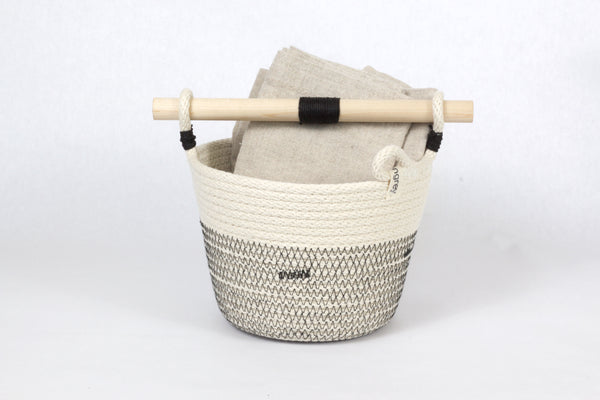 Japanese-Inspired Woven Bucket with Wood Handle