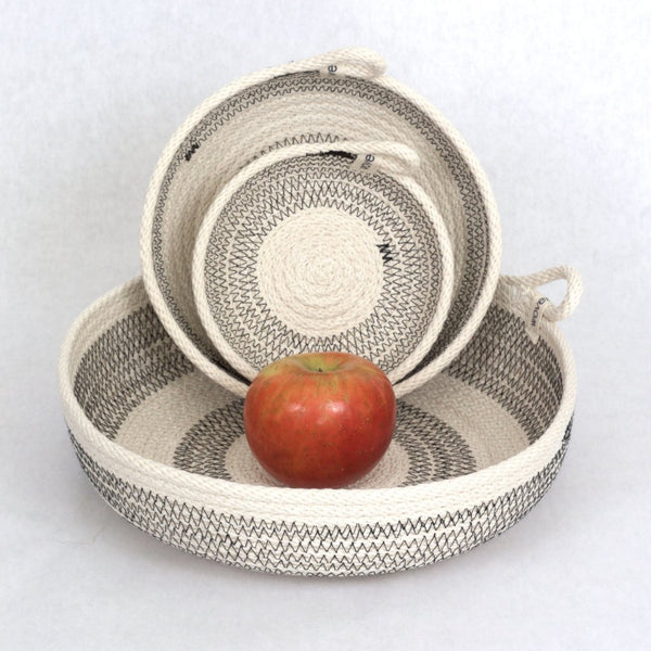 Striped Round Woven Organizing Baskets Handmade in America - 3 Stackable Sizes, from 5 inches to 10 inches