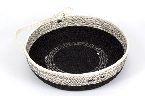 Large 12 Inch Woven Cotton Table Basket with Handle for Dining Serving and Storage