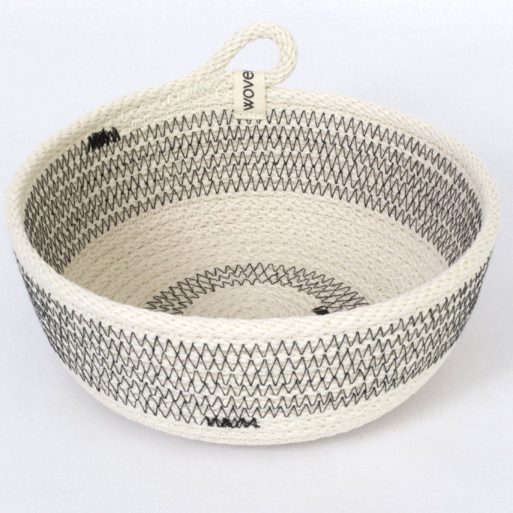 Deep Woven Cotton Striped Rustic Modern Storage Bowl, 6 inches x 4 inches