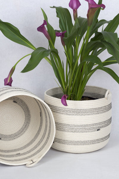 Tall Large Rustic Modern Neutral Color Woven Planter Bucket Basket, 10 x 10 inches