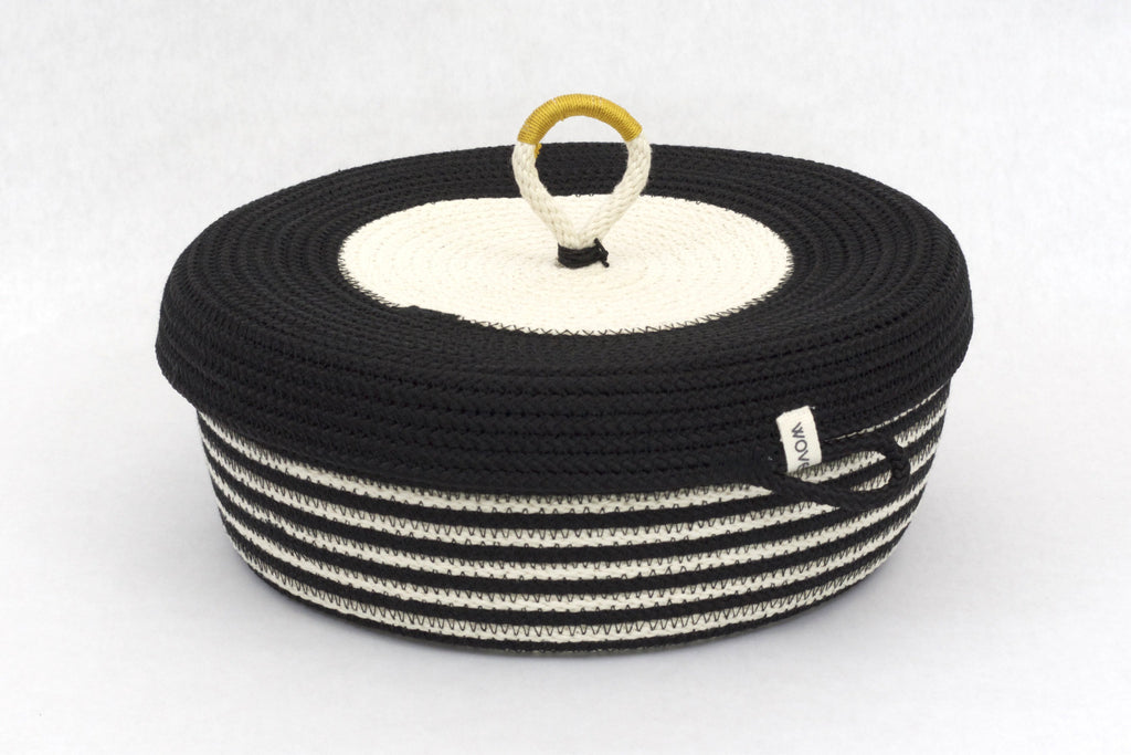 Black & White Striped Lidded Hand Woven Basket, 10 inches