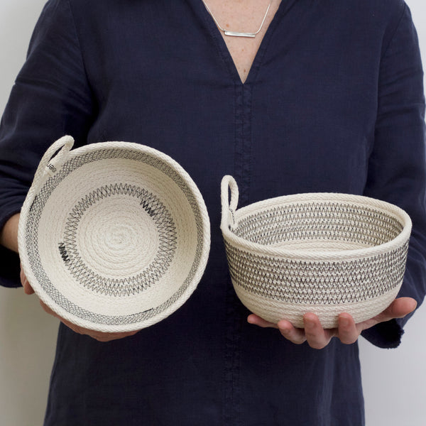 Deep Woven Striped Storage Bowl, 6 x 4""