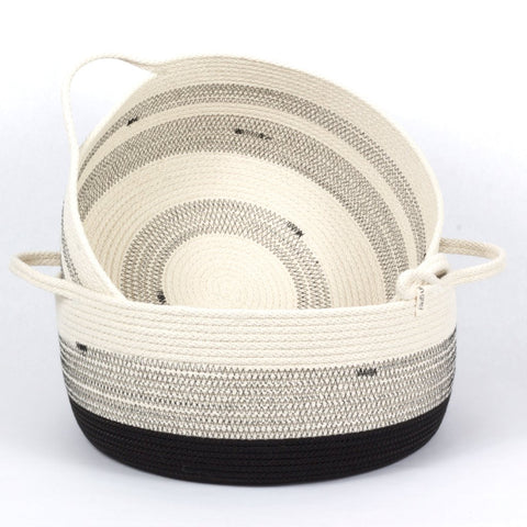Large 15 Inch Structured Woven Cotton Basket with 2 handles - Dramatic Black and White Stripes