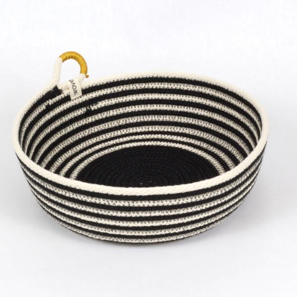 Dramatic Handmade Striped Woven Cotton, knitting basket