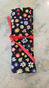 Travel Cutlery wrap - black floral