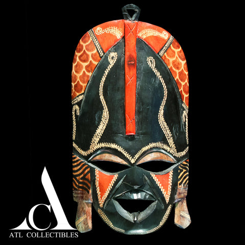 African Wood Mask Black And Red