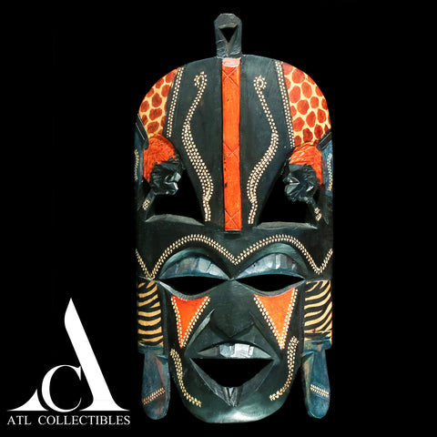 African Wood Mask Head on Sides