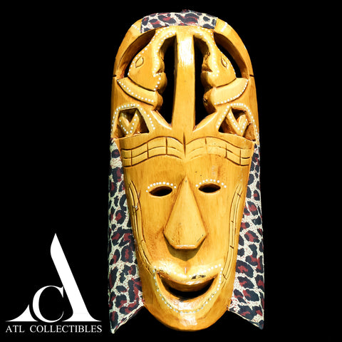 African Wood Mask Elephants on Head
