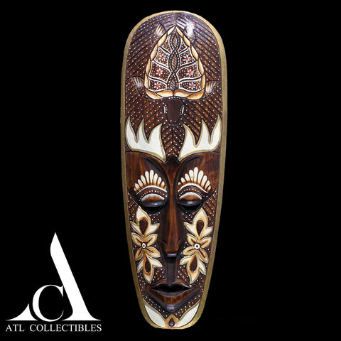 African Wood Mask Engraved Turtle on Top