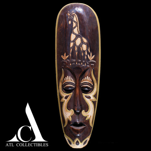 African Wood Mask Engraved Girraffe