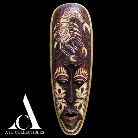 African Wood Mask Engraved Scorpio