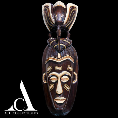 African Wood Mask Pigeon Head