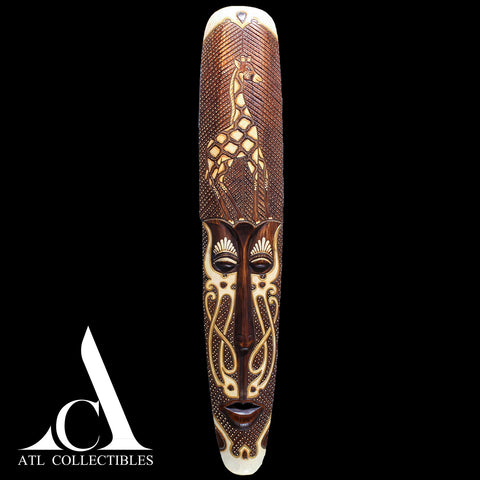 African Wood Mask Engraved Girraffe Long