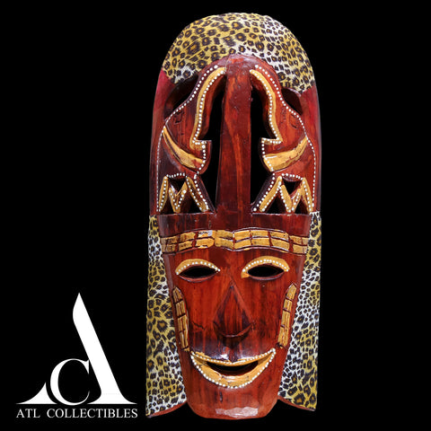 African Wood Mask Elephant on Top Trunk Up