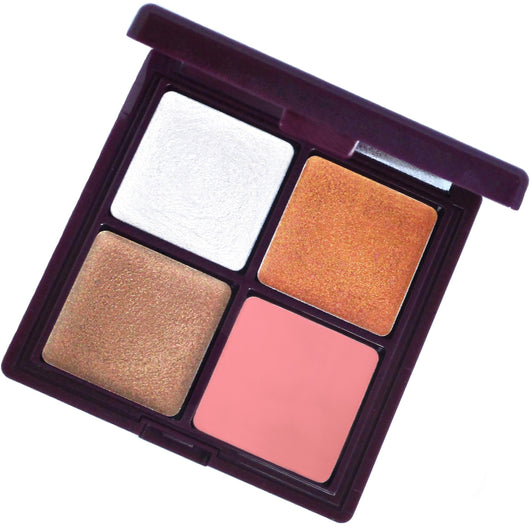 Bijou cream makeup palette for a nude glow! This luxurious compact is a green beauty must with four shades to use as a highlighter, bronzer, blush and lipstick.