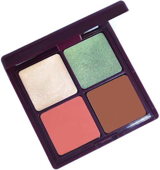 Point Break cream makeup palette! This luxurious compact is a green beauty must with four shades used for eyeshadow, highlighter, bronzer, blush and lipstick.