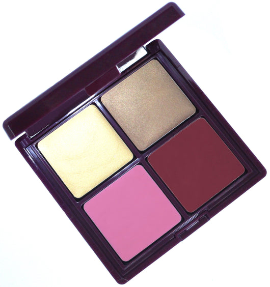 Reserve cream makeup palette. This luxurious compact contains four multi-use shades used as a highlighter, bronzer, blush and lipstick. Green beauty