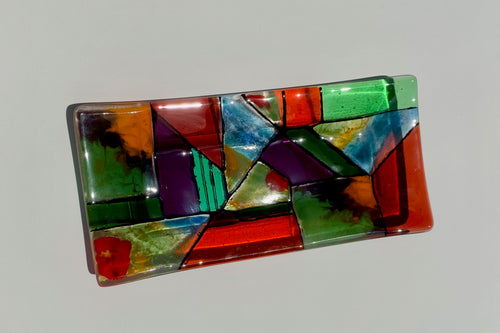 Fall Collage Baton Rouge fused glass stained glass green gold orange purple