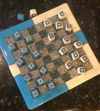 "Checkers Anyone? 10""x10"" board 1/2"" glass cubes"