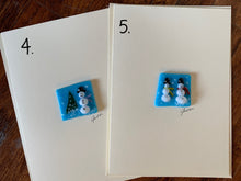 "Fuse Glass Snowman Keepsake on a 5"" x 7"" Blank Card"