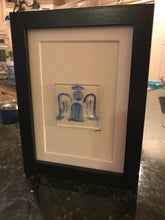 "5"" x 7"" Blank Greeting Cards with fused glass Pewter/Blue design"