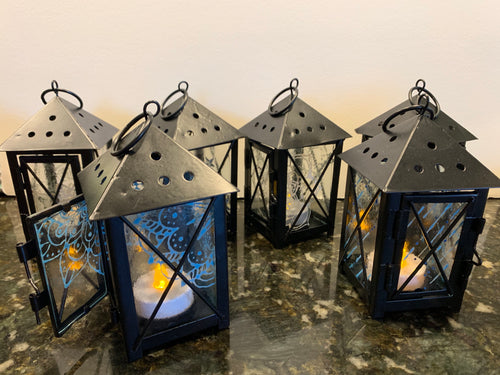 Small Lantern with decorative fused gass panes
