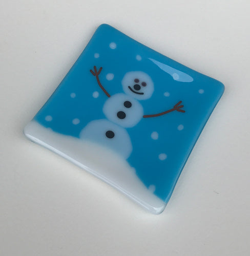 Chilly Snowman Fused Glass Nesting Plate