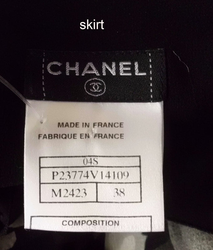 Chanel 3pc Bodysuit, Skirt & Long Sleeve Blouse Black Print Suit Size 6/8