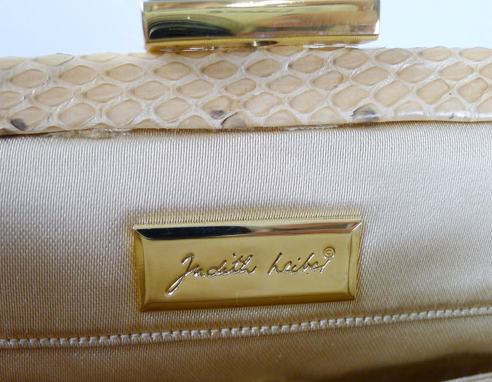 Judith Leiber Snake With Gold Chain Strap Mellon Handbag