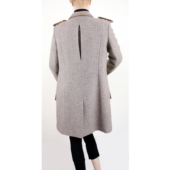 Mathew Williamson Long Sleeve with Leather Trim Taupe Coat Size M/L