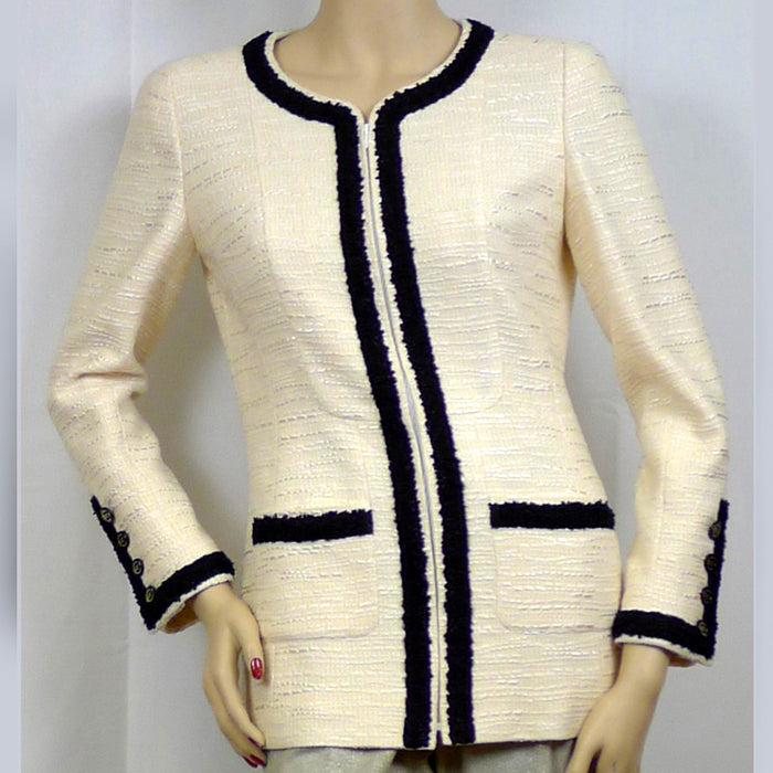 Chanel Long Sleeve Zip Front Jacket   Size 6/8
