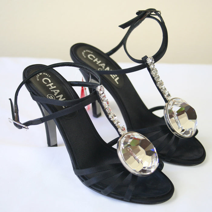 CHANEL Strappy Open Toe Ankle Strap w/Large Crystal Shoes  Size 7.5