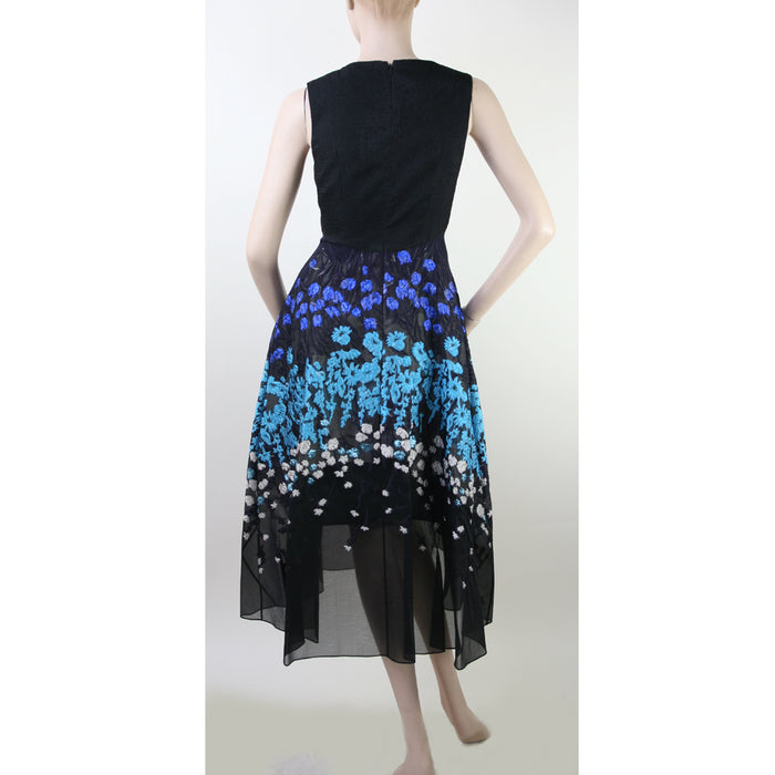Lela Rose V Neck Long Evening Multi Black Dress Size 4