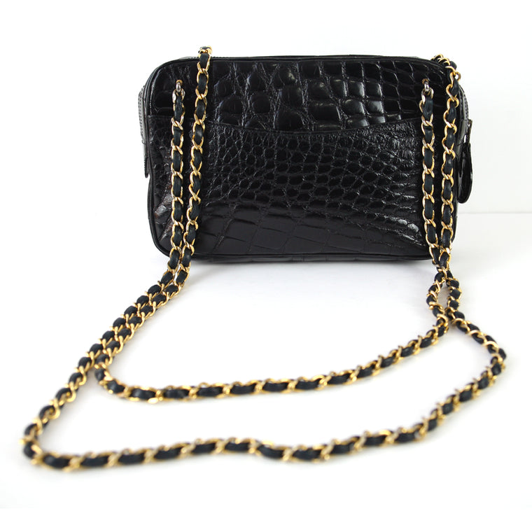 Chanel Vintage Crocodile Zip Top Chain Strap Black Handbag