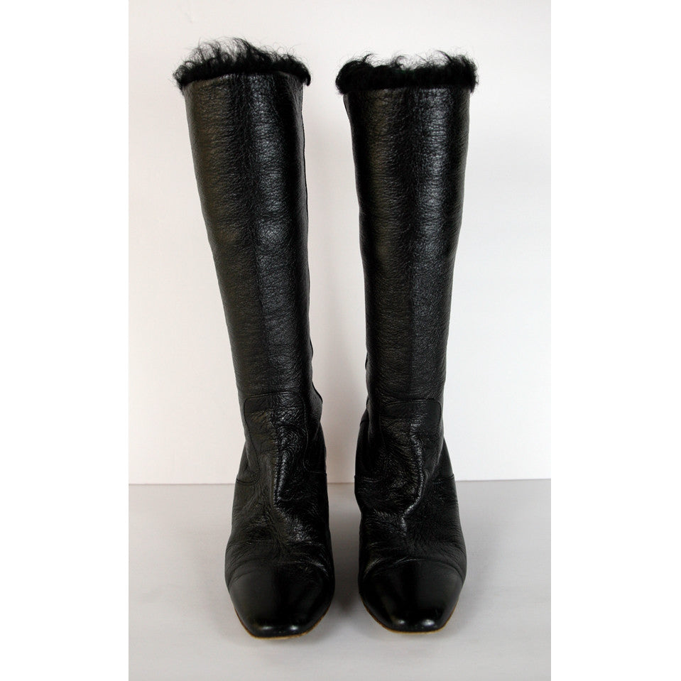 Chanel Tall Pull On Leather Black Boots Size 9-9.5