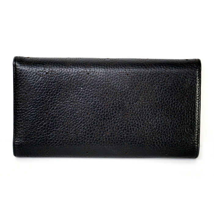 "Louis Vuitton Perforated ""Mahina"" Leather With Gold Buckle Closure Black Wallet"
