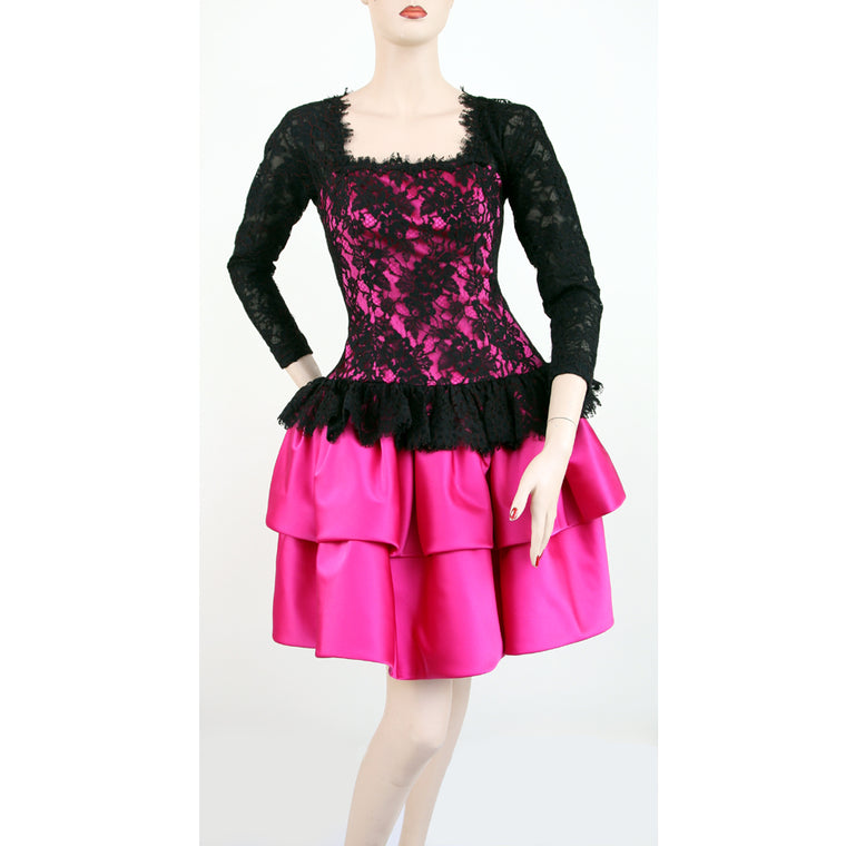 Oscar De La Renta Long Sleeve Square Neck Lace Black Fuchsia Dress Size 6