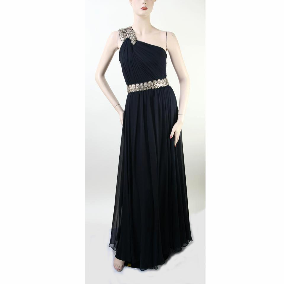 Monique Lhuillier One Shoulder Long Evening Black Dress Size 6